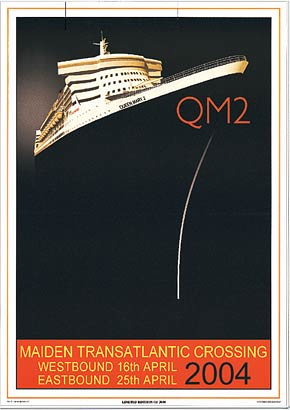The Queen Mary 2 Madien Voyage Poster from MarineArt.com
