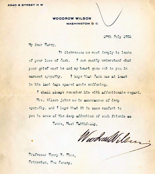 A letter of condolence from Pres. Wilson ca. 1922