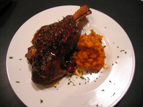 Lamb Shank with Mashed Sweet Potato
