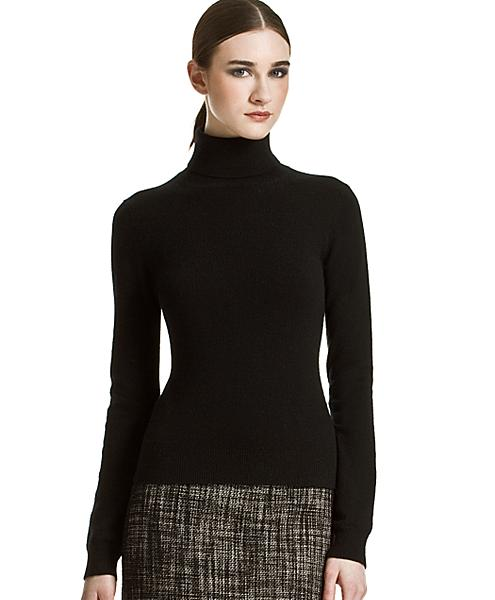 Black Cashmere Turtleneck by Michael Kors via eLuxury