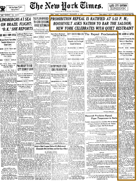 Repeal of Prohibition NYT