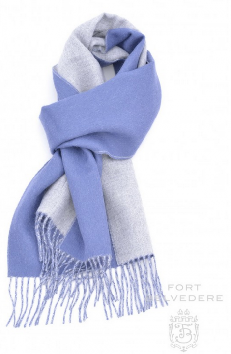 Double-faced Alpaca Scarf in Blue/Grey. USD$95 at The Gentleman's Gazette.