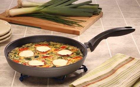 Swiss quality is evidenced in every facet of the Swiss Diamond 10.25 inch (26 cm) Fry Pan. Unsurpassed nonstick performance allows cooking with little to no oil for a healthier lifestyle. No more scrubbing or soaking - the diamond-reinforced patented coating ensures immediate release of food particles with just warm soapy water. A helping handle located on the lip of the pan makes two-handed tasks a cinch. The rivet-free interior prevents unsightly food build-up that could lead to bacteria growth. Dishwasher safe but hand-washing recommended. Suitable for all gas and electric stovetops - for an induction version, please see our Induction Collection. Also available with a heat-tempered glass lid.